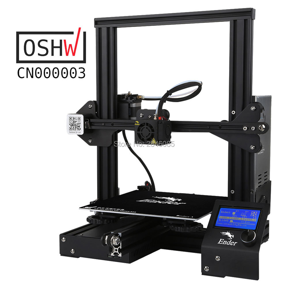 Barato impressora 3d Creality Ender3/Ender-3X Atualizado Opcionais de Vidro Temperado, v-slot para Retomar o Poder Falha de Impressão DIY KIT Viveiro