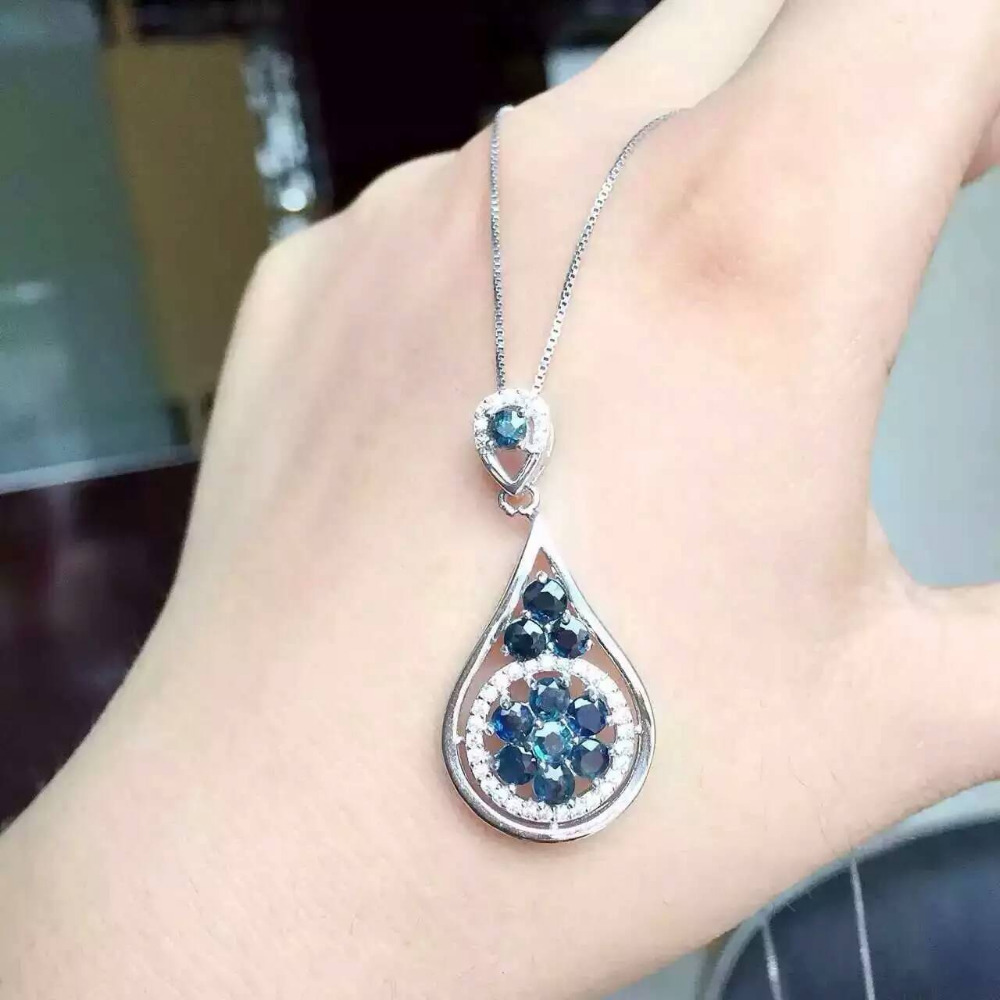 Natural sapphire pendant S925 silver Natural gemstone Pendant Necklace trendy bottle Water droplets women party fine jewelry