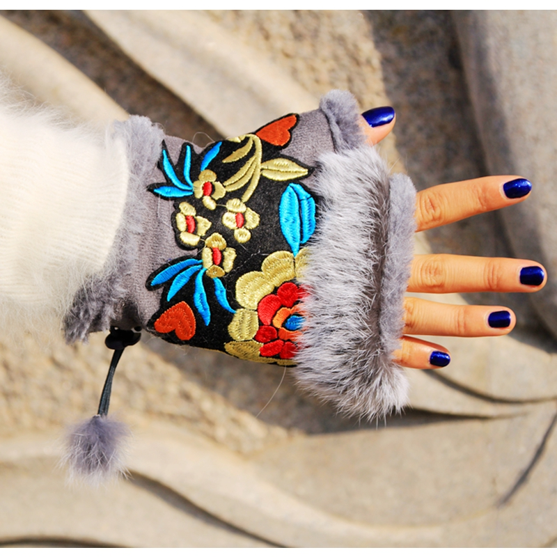 High Quality 2016 Ethnic Wrist Gloves  Mexico Style Vintage Embroidery Female Mittens Women Winter Gloves National Customs