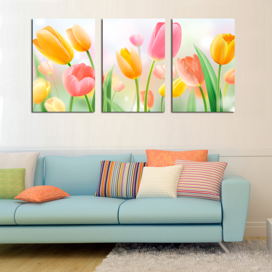 Yellow Flower Wall Art painting walls yellow promotion-shop for promotional painting