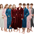 One Sale Super Soft Women Men Winter Long Warm Bath Robe Lovers Kimono Bathrobe Dressing Gown Bride Wedding Bridesmaid Robes New