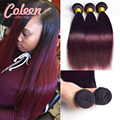 7A Ombre Brazilian Hair Straight T1B/Burgundy Brazilian Hair 3 Bundles Two Tone Brazilian Weave Hair Bundles Ombre Human Hair
