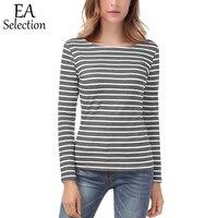 EA Auswahl Lässige Stripes Drucken Terry T-Shirt Frauen Slim Fit Sweatshirt Basis Langarm Oansatz T Tops Fashion Frühling Baumwolle