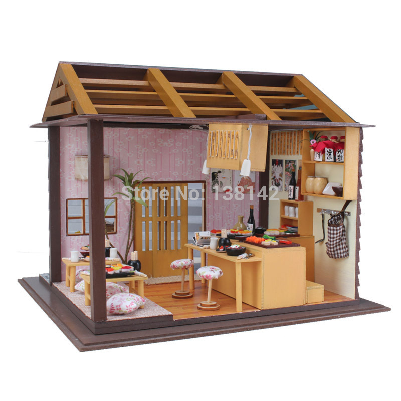 13827 diy miniature dollhouse large doll house with voice led light 3D Sushi Shop free shipping sakura sushi bar japanese zakka style diy doll house 3d miniature led light wood