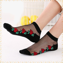 10Pairs hot sale with flower Crystal Silk Socks black color thin Emboridery Cotton Summer Boat Sock High Quality Women