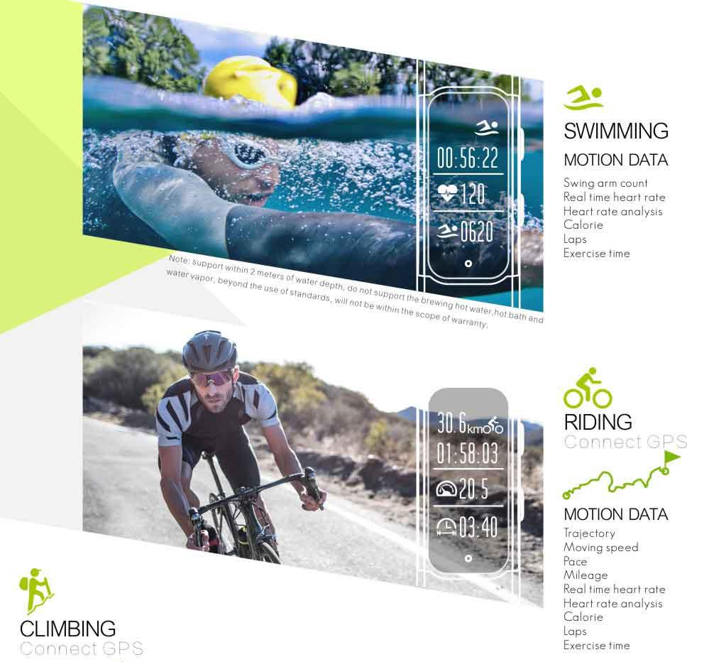 LEMDIOE Heart Rate Smart Wristband GPS Track Record Smart Band 2 Sleep Pedometer Bracelet Fitness Tracker Smart Watch Relogio 7
