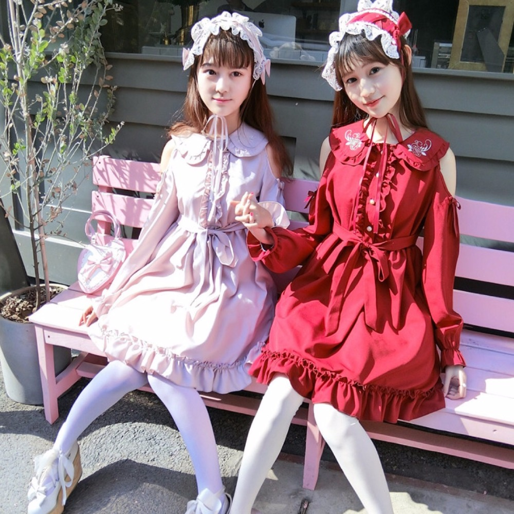 Summer manor Chiffon Rose Lolita retro Gothic embroidered strapless sexy dress (Lotus Pink/ Wine red color)