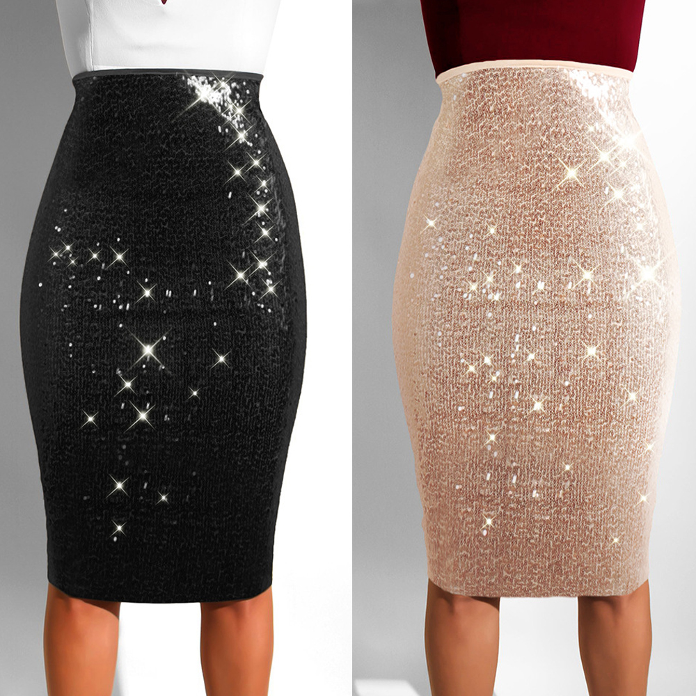 2020 New Hot Women's Sequined Skirt Sexy Sequins Slim With Lining Bag Hip Skirt Fashion Apricot Black Skirt