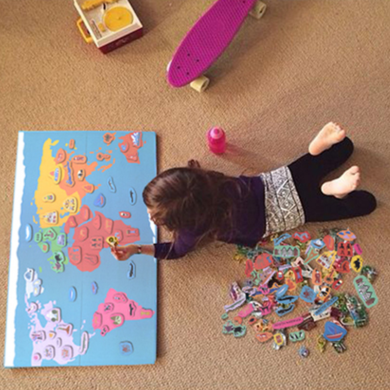 все цены на Kid's Magnetic World Map Montessori Material Educational Toys For Children Magnet World Cultural Cognition Puzzles oyuncak онлайн
