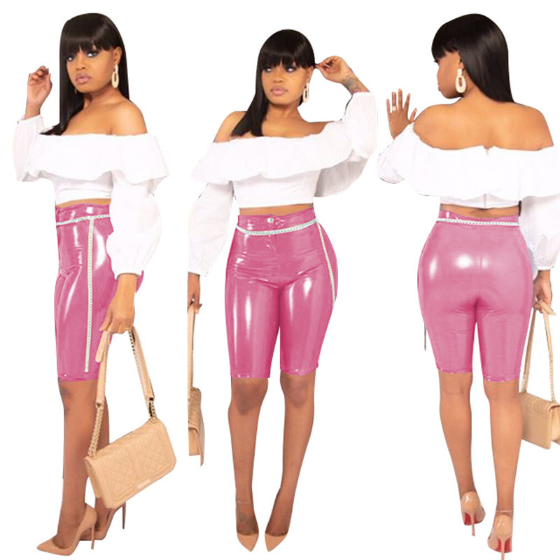 Adogirl Women Casual PU leather Knee Length Pants Highly Stretchy Solid Summer Short Fashion Sexy Pencil Pants Cheap Trousers Pants & Capris Women Bottom ! Plus Size Women's Clothing & Accessories