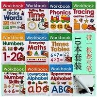 10 kitaplar/Set Silin Temiz Çalışma Kitabı Çocuk Çocuklar İngilizce resimli kitap Öğrenin ABC Alfabe/Kat/Matematik/Zor fonetik Kelimeler