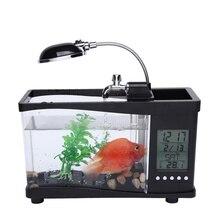 Pet acrylic mini fish tank aquarium led lighting light with alarm clock for living room bedroom desk decoration products