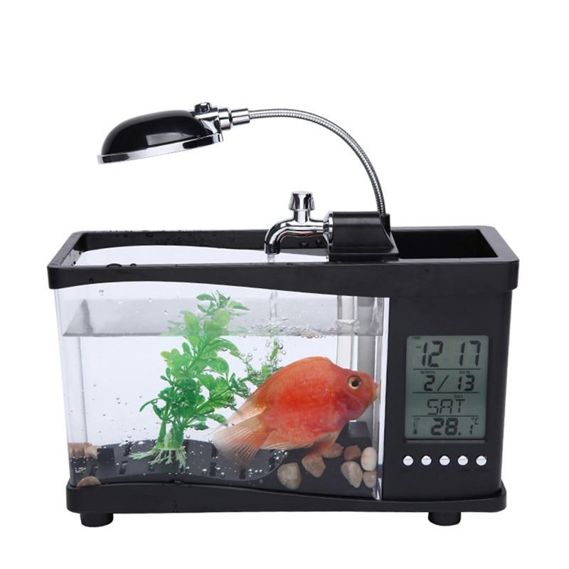 Pet acrylique mini aquarium LED pour aquarium éclairage lumière avec réveil pour salon chambre bureau décoration produits
