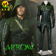 Green Arrow Season 1 Oliver Queen Cosplay Costume Adult Man For Halloween Party Superhero Uniform Leather