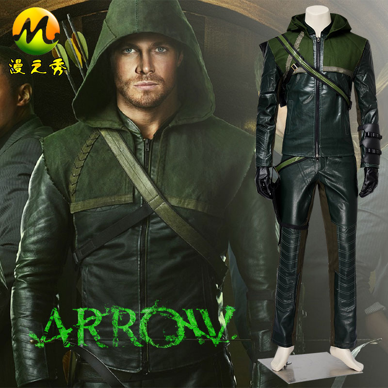 Green Arrow Season 1 Oliver Queen Cosplay Costume Adult Man For Halloween Party Superhero Uniform Leather Hoodie Outfit
