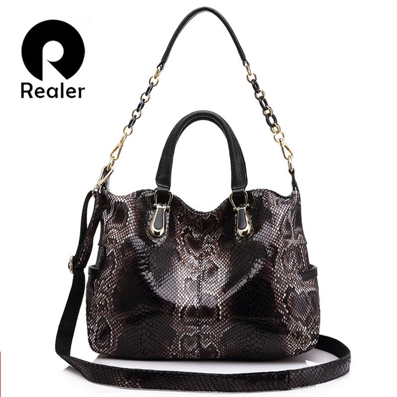 REALER genuine leather totes female serpentine prints handbag boston bag large shoulder crossbody bag for women messenger ladies 100% genuine leather women bags luxury serpentine real leather women handbag new fashion messenger shoulder bag female totes 3