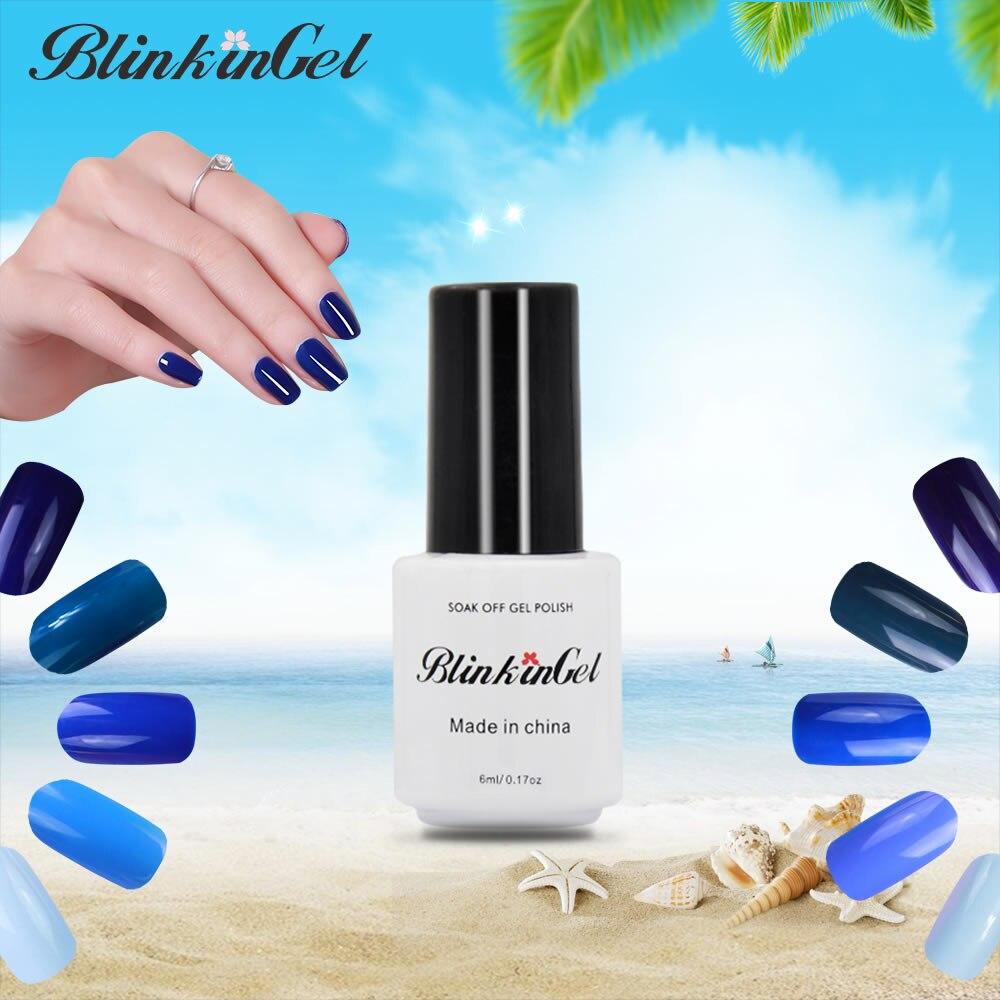 Blue Nail Polish One Finger: BlinkinGel 1pcs Sky Blue Gel Nail Polish Set Colors Simple