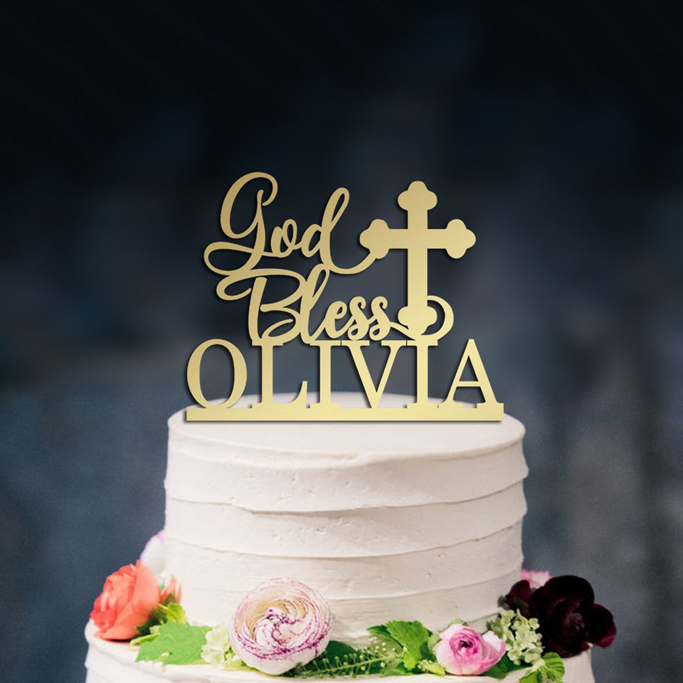 God Bless Baptism Christening Communion Confirmation Cake Topper Gold Paper