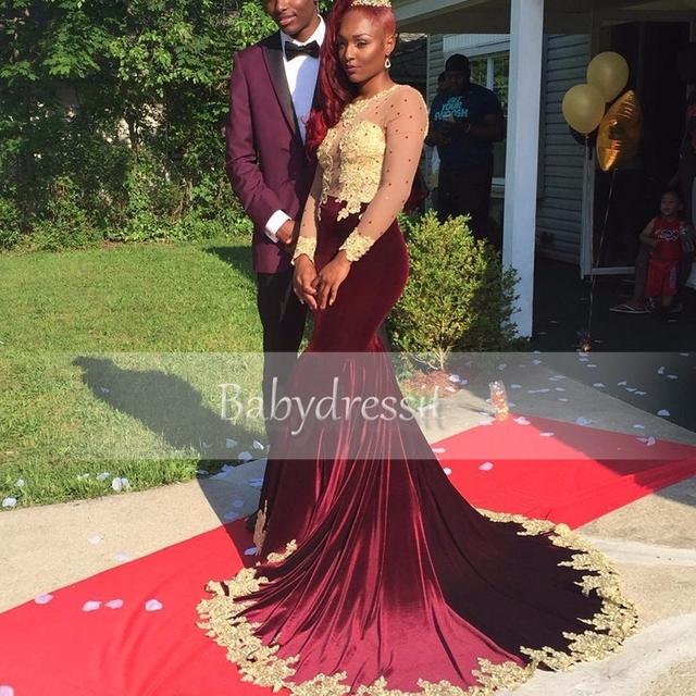 Chegam novas Borgonha Africano Vestido de Baile Ver Através de Manga Longa O pescoço Sheer Ouro Apliques Longos Vestidos Da Menina Da Sereia do baile de Finalistas 2017