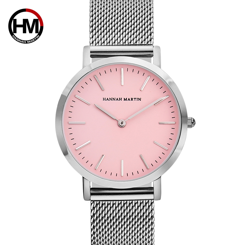 Stainless Steel Mesh Band Watch Japan Movement Pink Dial Waterproof Wristwatch Fashion Casual Luxury Ladies Watch For Women 36mm
