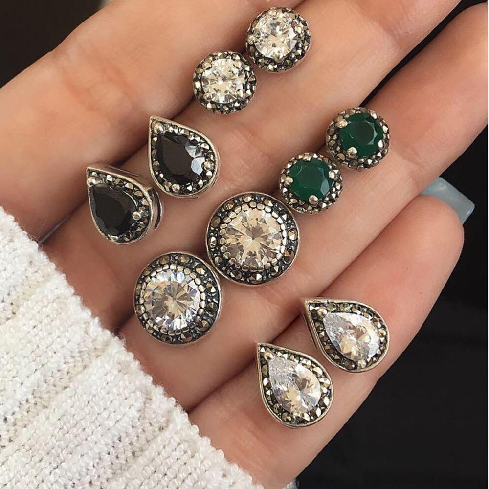 Meyfflin Women Crystal Earrings for Women Boucle D'oreille Jewelry Bohemian Stud Earring Set Green Droplets Brincos 5 Pairs