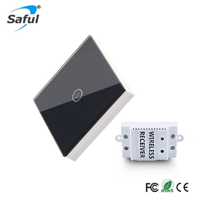 Saful גביש כפתור מגע מתג אלחוטי 1 כנופיית 1 דרך זכוכית DIY פנל מתג מתג קיר עיצוב חיווי LED מרחוק שליטה