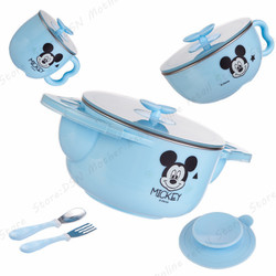 5-piece Dinnerware Sets Disney Child Baby Assisted Dishes Use Water Temperature Adjustment Health Bottom Suction Cup Anti-fall