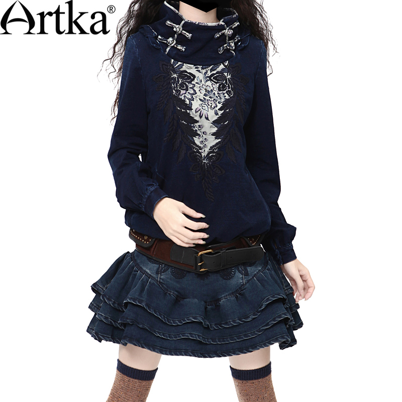 Artka Women'S Classic Vintage National Embroidery Patchwork Handmade Plate Buttons Turtleneck Winter Denim Sweatshirt WN17539D
