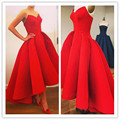 Red High Quality Long Evening Dresses 2016 High Low Prom Gowns Sweetheart Off The Shoulder Pleat Formal Party Dress Fashion