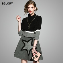 2017 Autumn Winter Clothing Ladies Sweater and Skirt Suit Women Color Block Knitted Sweater+Star Print Wool Skirt Set Two Piece