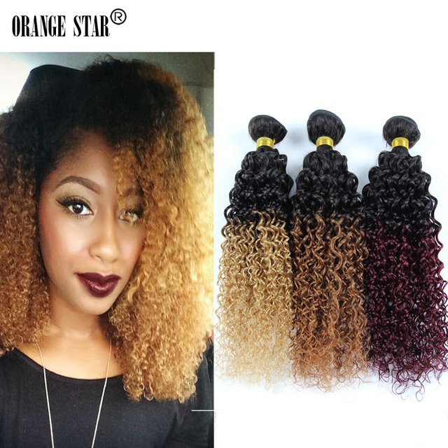 Curly Ombre Hair Extensions 3 Bundles Human Hair Two Tone Ombre