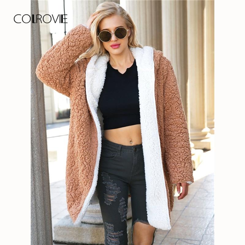 COLROVIE grande taille Chameau Réversible Hoodies Élégant D'hiver En Peluche Manteau vêtements pour femmes 2018 Streetwear Chaud Dames Outwear Manteaux