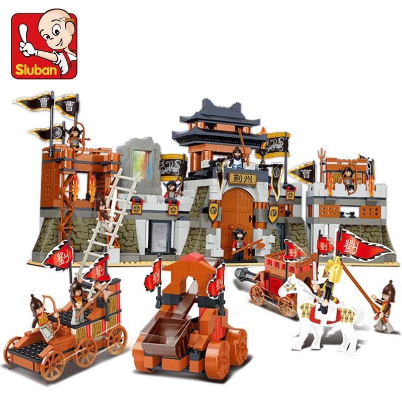 SLUBAN 0267 Three Kingdoms Battle of Jingzhou Building Blocks Set 3D Construction Bricks Educational Block Toys For Children brass copper famous three kingdoms guan ping zhou cang guan gong warrior god set