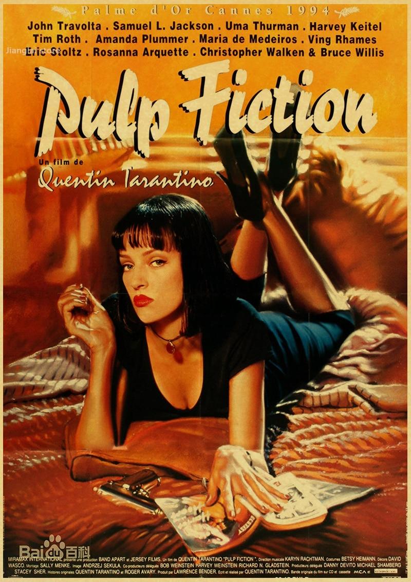 pulp fiction classic movie poster retro kraft bar cafe decorative
