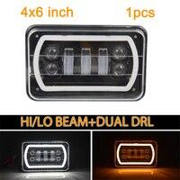 1pcs 4X6 Car Led Headlight Square Light White Halo DRL Amber Turn Signal Sealed Replacement For suzuki DRZ Honda XR650