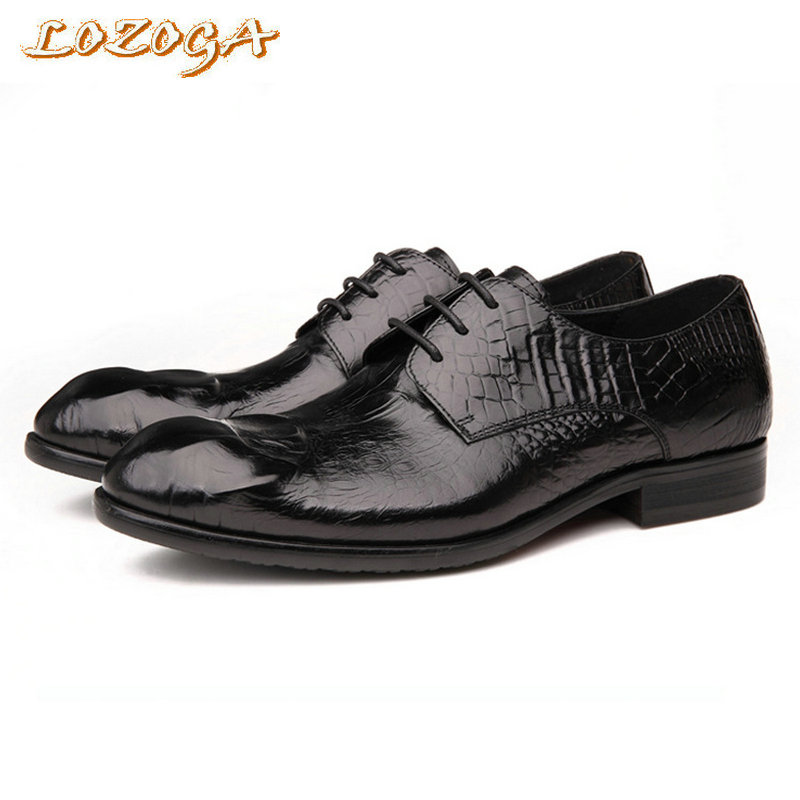 British Style Men Business Shoes Handmade Flat Shoes Genuine Leather Moccasin Crocodile Lace-up Pointed Toe Spring And Autumn 2015 new spring and autumn full for grain soft genuine leather men s british business dress pointed toe solid buckle strap shoes