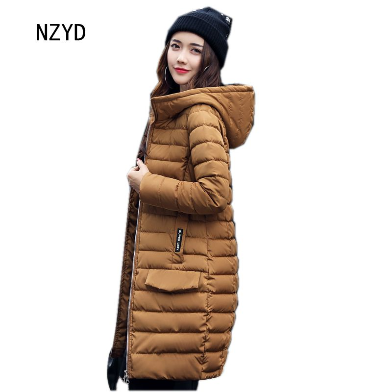 2017 Women Parkas Winter New Arrival Hooded Warm Medium long Solid color Jacket Down Long sleeve Loose Big yards Coat LADIES292 2017 new winter fashion women down jacket hooded thick super warm medium long female coat long sleeve slim big yards parkas nz18