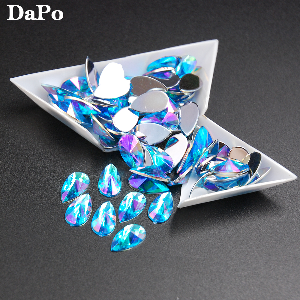 Aquamarine AB Color Pear Drop 100pcs 8x13mm Acrylic Crystal Acrylic  Rhinestones Water Teardrop For Jewelry Clothes Decoration-in Rhinestones  from Home ... b65256651a2d