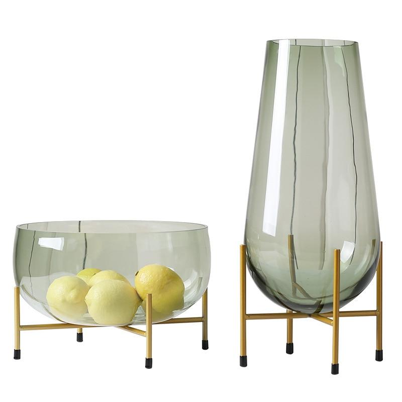 Best Offer 62ea Fashion Light Luxury Green Glass Vase Large