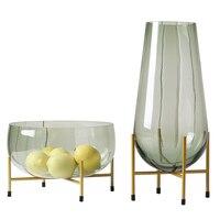 Fashion Light Luxury Green Glass Vase Large Fruit Plate Fruit Plate Decoration Modern Minimalist Home Soft Decoration