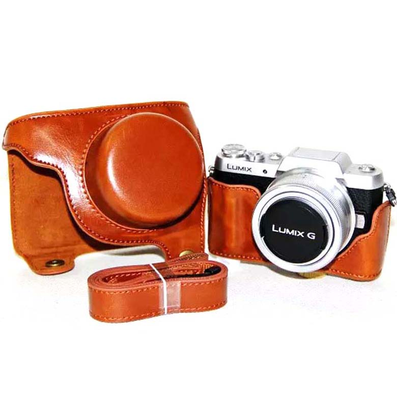 Vintage Brown coffee black camera Video Bag Case Cover with Shoulder Strap for Panasonic Lumix GF7 GF8 ...