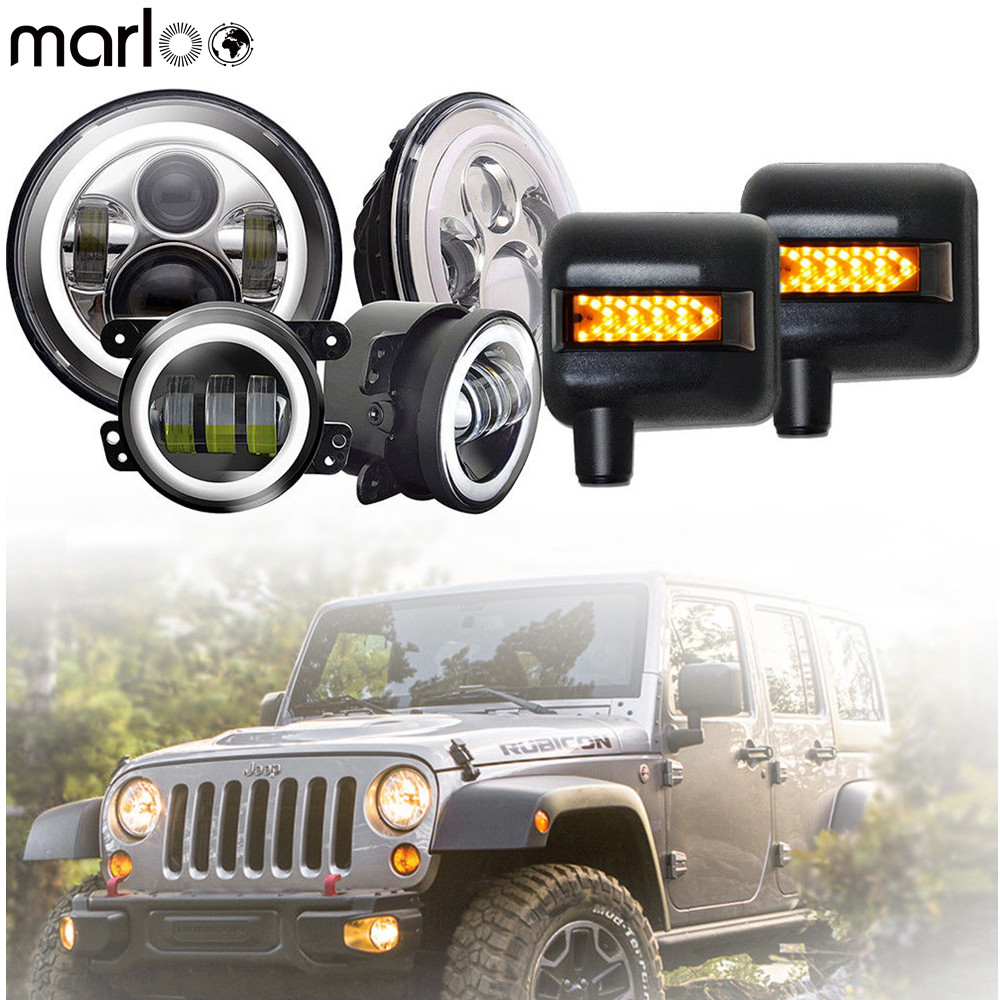 Marloo For 2007-2017 Jeep Wrangler JK 7 Daymaker LED Headlights 4'' Fog Lamp With Rearview Mirror Turn Signal Light Set 4pcs black led front fender flares turn signal light car led side marker lamp for jeep wrangler jk 2007 2015 amber accessories