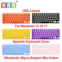 cheapest 50pcs/lot Spanish UK EU layout Silicone keyboard case cover for Apple MacBook Pro 13.3