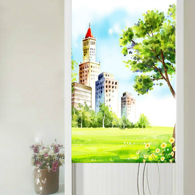 Bagus Tirai Korea Kartun Ilustrasi Pemandangan Seri Pintu Tirai One