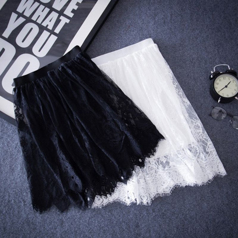 Womens Sexy Hollow Out Sheer Floral Lace Elastic Waistband Midi Overlay Flare Skirts Solid Color Pleated Trim Wedding Party Club