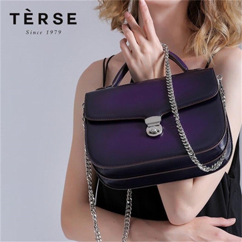 TERSE 2018 nouveau femmes sac à main en cuir véritable embrayages mode luxe violet chaîne sac fourre-tout sac bandoulière personnaliser Logo 9196