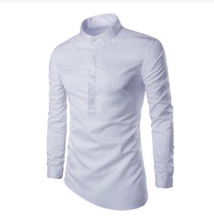 2017 Autumn Men's Off White Dress Shirt Men Mandarin Collar Shirt ...