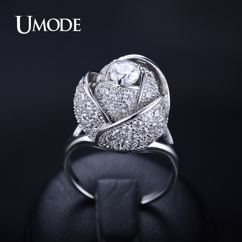UMODE Brand Fashion New Style Women Ring Rhodium Color Rose Flower Female Ring with 5mm 0.5ct CZ Stone Noble Design Ring UR0081 noble simple style round flower shape cuff ring for women