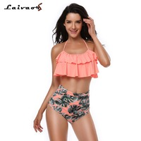 Laivaors Women 2018 Sexy Bikini High Waist Swimsuit Double Flounce Ruffle Swimwear Printing Biquini Neck Hung