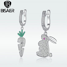 BISAER Drop Earrings Mr. White Rabbit and His Carrot Clear CZ Asymmetry Dangle Earrings Luxury Wedding Jewelry Gift Box GSE119